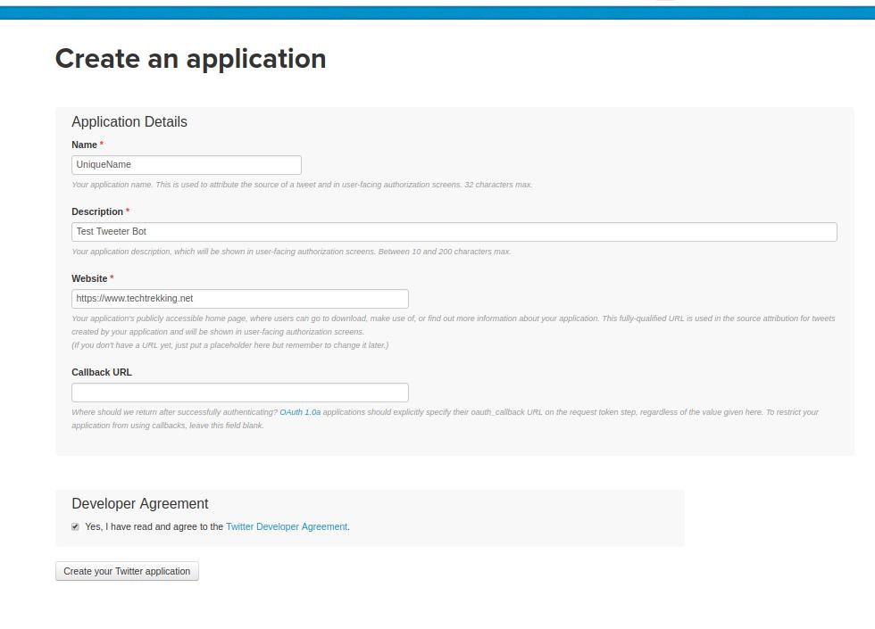 Create Tweeter Application